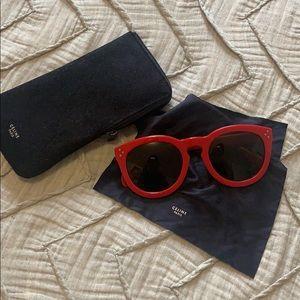 Red Celine Sunglasses 52mm Round